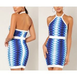 NEW! WOW Couture Blue/White Halter Bandage Dress